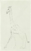 giraffe; verso: study of animals by henri de toulouse-lautrec