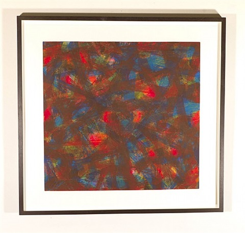 brush strokes in all directions - red by sol lewitt