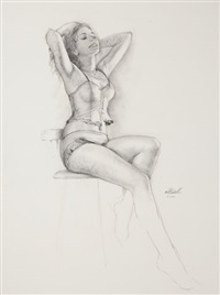 seated pin-up in lingerie by ed tadiello