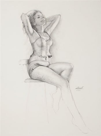 seated pin up in lingerie by ed tadiello