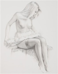 seated pin-up by ed tadiello