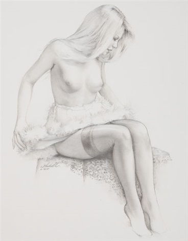 seated pin up by ed tadiello
