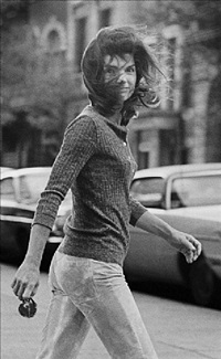 """windblown jackie"" – jackie onassis on madison avenue, new york by ron galella"