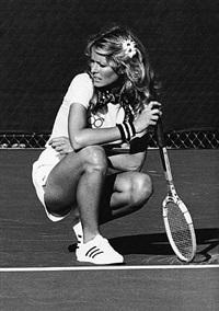 farrah fawcett vs. bill cosby at the celebrity challange tennis tournament, mission viejo, california by ron galella