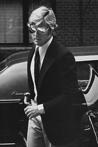 robert redford arrives at mary lasker's home for a party, new york by ron galella