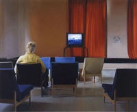 study for man watching t.v. 4 by paul winstanley