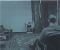 study for man watching t.v. (blue) by paul winstanley