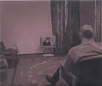 study for man watching t.v. (pink) by paul winstanley