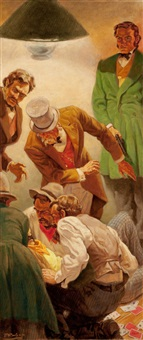 poker night murder, magazine story illustration by edmund f. ward