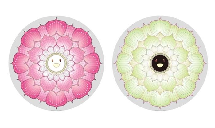 lotus flower pink (+ lotus flower white: 2 works) by takashi murakami