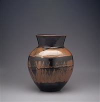 vase, kaki glaze by yoshinori hagiwara