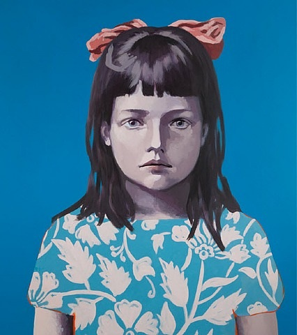 girl in blue with pink ribbon by claerwen james