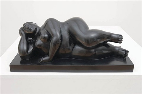 small reclining woman on her side by fernando botero