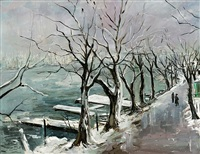 alte donau im winter by ernst huber