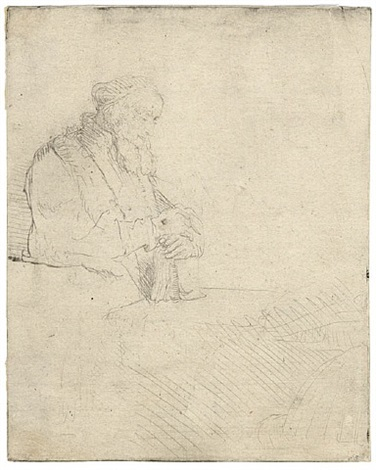 old man in meditation, leaning on a book by rembrandt van rijn
