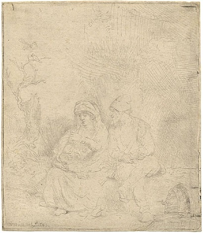 the rest on the flight into egypt: lightly etched by rembrandt van rijn
