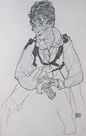 the artist's wife, seated from zeichnungen by egon schiele