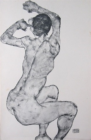 female nude backside from <i>zeichnungen</i> by egon schiele