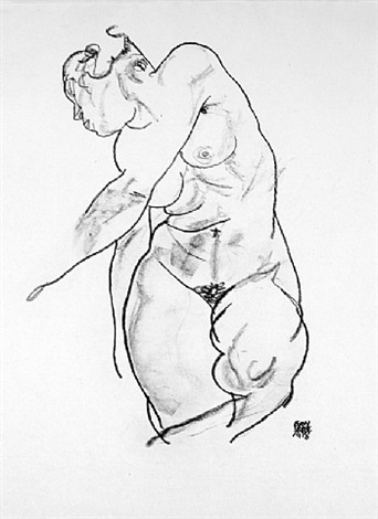 female nude from <i>handzeichnungen</i> by egon schiele