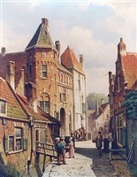 <i>dutch town scene with figures</i> by willem koekkoek