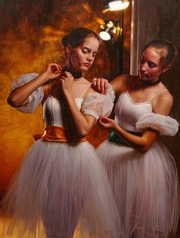 backstage, two dancers by douglas william hofmann