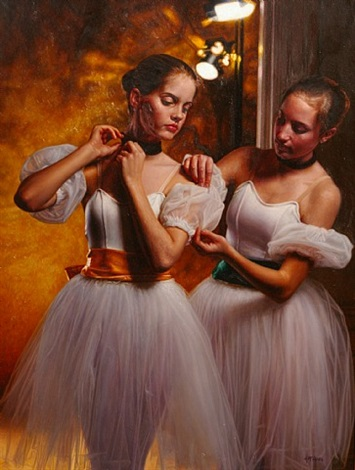 backstage, two dancers by douglas william hofmann