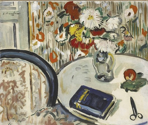 still life with chair and flowers by george leslie hunter