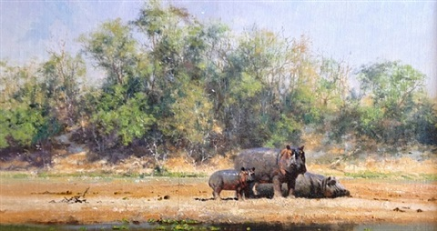 hippo family by david shepherd