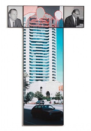 the intersection series: four persons at meeting/high rise building by john baldessari