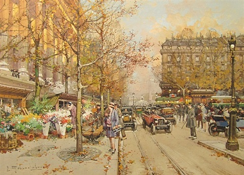 the flower market la madeleine by eugène galien-laloue