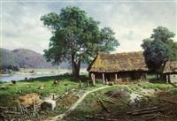 riverside farmstead by mikhail konstantinovich klodt von jurgensburg