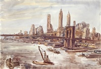 brooklyn bridge and lower manhattan 2 by reginald marsh