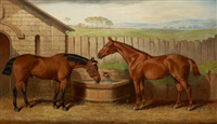 two hunters at a water trough by edward lloyd