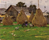 haystacks in the village by yuri semenyuk the elder