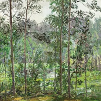 lake in the woods by victor korovin
