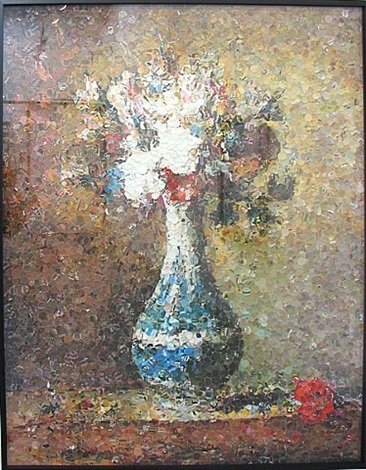 the flowers in the blue and white vase after chardin by vik muniz