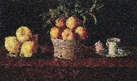 still life with lemons, oranges, and a rose, francisco zurbaran by vik muniz