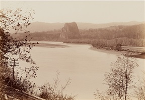 castle rock from lower cascades landing by carleton e. watkins