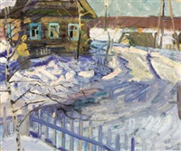 dacha in winter by vasily golubev