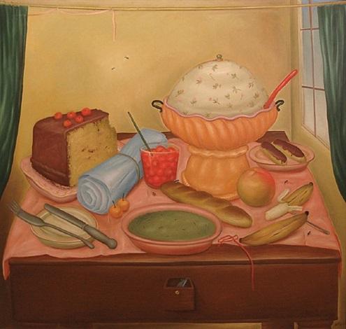bodegon con sopa de arvejas by fernando botero