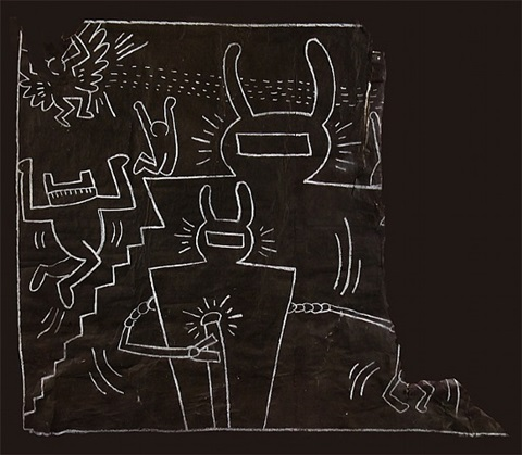 untitled (robots, figures and angel) by keith haring