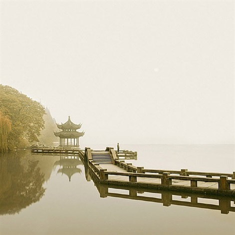 man watching sunrise, hangzhou, china by david burdeny