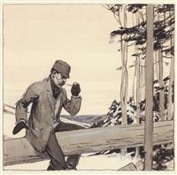 man on log by edward hopper