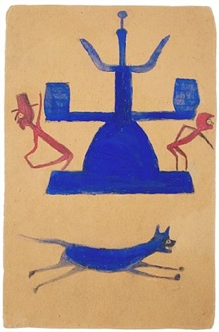 untitled, (blue and red construction with running dog and figures) by bill traylor