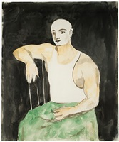 seated acrobat wearing white athletic shirt by walt kuhn
