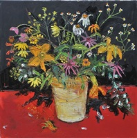flowers on a red table by shani rhys james