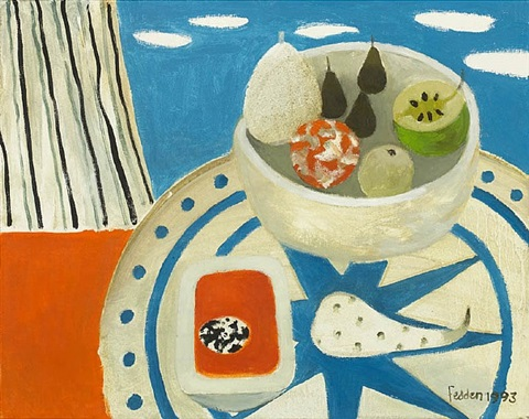 still life on tabletop by mary fedden
