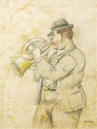 man playing trumpet by fernando botero