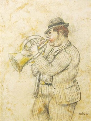 man playing trumpet by fernando botero