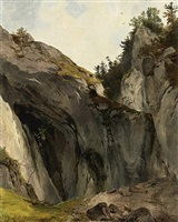 a rocky outcrop with vegetation. a nature study by friedrich gauermann